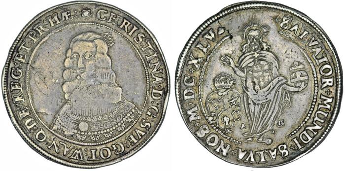 World Coins - Sweden. Queen Christina (1632-1654) RARE AR Riksdaler 1645. Choice VF, toned