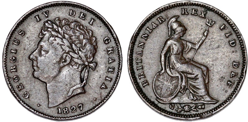 World Coins - Great Britain. George IV (1820-1830). Cu 1/3 Farthing 1827. VF+/XF, toned.
