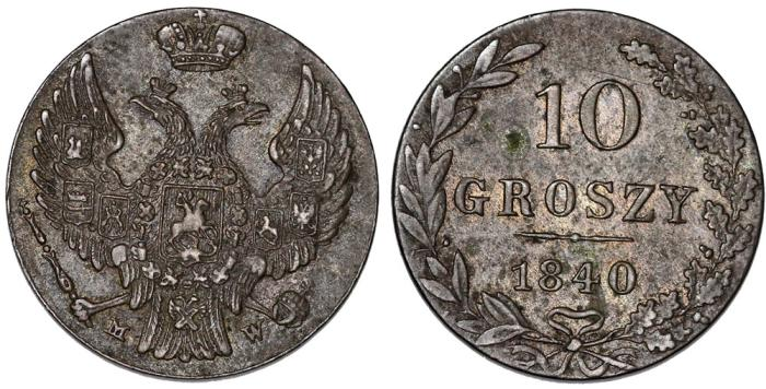 World Coins - Imperial Rusia. Coinage for Poland. Silver 10 Groszy 1840 MW. XF, toned