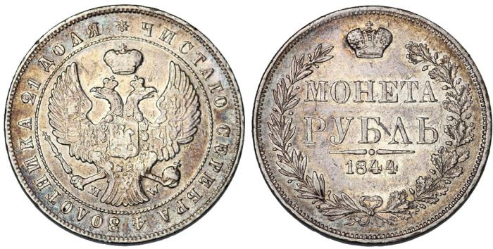 World Coins - Poland under Russian Occupation. Silver Ruble 1844 MW. Nice VF