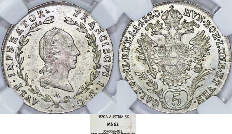 World Coins - Imperial Austria. Emperor Franz I (1806-1835). AR 5 Kreuzer 1820A. NGC MS62