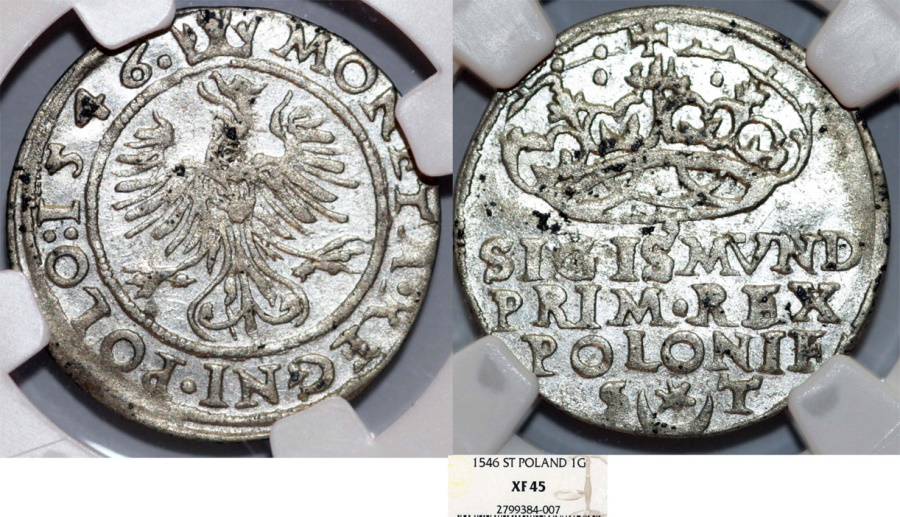 "World Coins - Poland. King Sigismund I ""Old"" (1506-1548). AR Groschen 1546. NGC XF45"