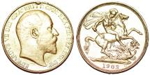 World Coins - Great Britain. Edward VII. Gold 2 Pounds 1902 BP. XF details, rare