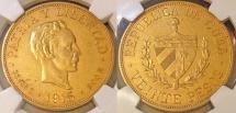 Cuba. Republic. Gold 20 Pesos 1915. NGC AU55