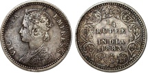 British India. Victoria. AR 1/4 Rupee 1883 About Very Fine