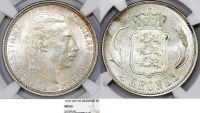 World Coins - Denmark. Christian X (1912-1947). Silver 2 Kroner 1916 VBP. NGC MS63