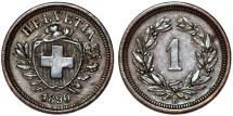 World Coins - Switzerland. Federation issue. AE 1 Rappen 1890 B. Choice XF/AU.