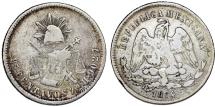 World Coins - Republic of Mexico. AR 25 Centavos 1874 Zs-H. Toned about VF