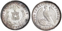 Chile. Republic. Silver 50 Cents 1872. Choice AU/UNC