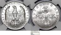 World Coins - Germany. Weimer Republic. AL 3 Mark 1922A. NGC MS66, Choice BU!