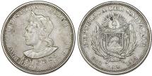 Republic of El Salvador. Silver Peso 1914 CAM. Toned Choice XF.