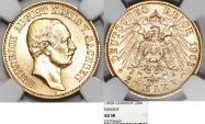 World Coins - German Empire. Saxony (Sachsen). George (1902-1904). Gold 20 Marks 1905E. NGC AU58