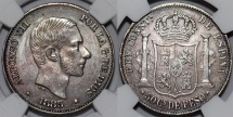 Phillipines as Spanish Colony. Alfonso XII. AR 50 Centavo 1885. NGC AU58, toned
