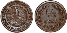 World Coins - Netherlands. William III. Scarce Cu 1/2 Cent 1898. Choice VF
