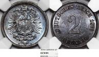 World Coins - Germany. Imperial Issue. Prussia. Wilhelm I. Cu 2 Pfennig 1876A. NGC AU58 BN