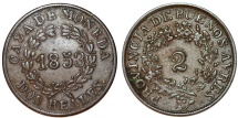 World Coins - Argentina. Province: Buenos Aires. AE 2 Reals 1853. Nice Choice VF