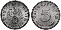 World Coins - Germany. Third Reich. ZN 5 Reichspfennig 1940 F. UNC
