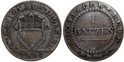 World Coins - Swiss Cantons. Solothurn. Cu 1 Batzen 1809. VF