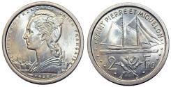 World Coins - St. Pierre & Miquelon. AL 2 Francs 1948. BU