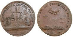 World Coins - Netherlands. Copper jeton 1677 issue don the treaties of Nijmegen. About VF