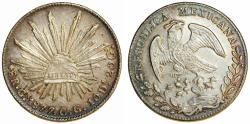 World Coins - Mexico. Republic. AR 8 Reales 1877 Cn(G mint error)-CG. Choice AU, nicely toned