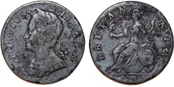 World Coins - Great Britain. George III (1740-1760). Bronze Half Penny 1740. About VF