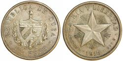 World Coins - Cuba. Republic. Silver 1 Peso 1916. About XF, lightly toned
