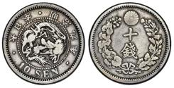 World Coins - Japan. Mutsuhito. AR 10 Sen 1876. VF