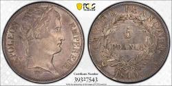 World Coins - France. Napoleon Bonaparte (1804-1814). AR 5 Francs 1810 A. PCGS AU50.
