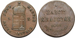 "World Coins - Hungary. Franzc I Josef (1848-1916). ""War of Independence Coinage"" Harom (3) Krajczar 1849 KB. Nice Choice XF"