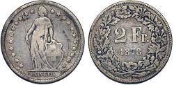 World Coins - Swiss. Federation Issue. AR 2 Francs 1878 B. Fine+, scarce date