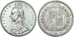 World Coins - Great Britain. Queen Victoria (1837-1901) AR Nice Half Crown 1887. UNC