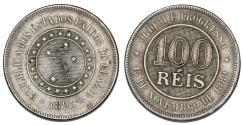 World Coins - Brazil. Pedro II. CU-NI 100 Reis 1889. VF
