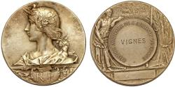 World Coins - France. IV Republic. Ministry of Agriculture. WM Medal 1895. Choice XF . Issued to Vignes.