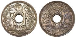 World Coins - France. Republic. WWI Issue. NI 25 Centimes 1917. Choice AU, toned
