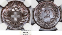 World Coins - Switzerland. Federation issue. AE 2 Rappen 1936 B. NGC MS61 BN