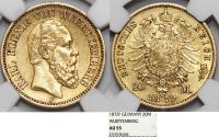 World Coins - German States Wurttemberg. Karl, 1864-1892. Gold 20 Mark 1872-F. NGC AU55.