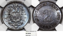 World Coins - Germany. Imperial Issue. Prussia. Wilhelm I. Cu 2 Pfennig 1876A. NGC AU58 BN