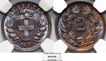 World Coins - Switzerland. Federation issue. AE 2 Rappen 1930 B. NGC MS64 BN