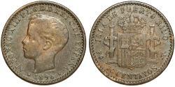 World Coins - Puerto Rico. Alfonso XIII. AR 10 Centavos 1896. Toned Choice VF