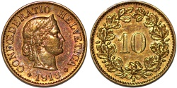 World Coins - Switzerland. Federation Inssue. Scarce Brass 10 Rappen 1918 B, Choice AU