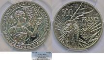 """World Coins - Central African States. NI 500 Francs """"Essai"""" 1976-B. PCGS SP69!"""