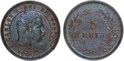 World Coins - Portugal. Carlos I. AE 5 Reis. 1906. Choice AU