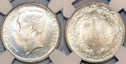World Coins - Belgium. Kingdom. Albert I. Silver Franc 1912. NGC MS66!