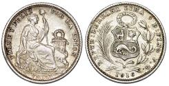 World Coins - Peru. Republic. Silver 1  Dinero 1916. AU