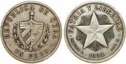 """World Coins - Cuba. Republic. Silver """"STAR"""" Peso 1934. VF+"""