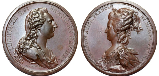 World Coins - France. Amazing Large Bronze AE73 Medal of king Louis XVI and Queen Marie Antoinette by Vivier 1781. Choice AU