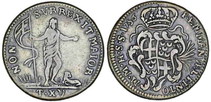 World Coins - Malta. Order of Knights of St. John. Emmanuel Pinto de Fonseca (1741-1773). Silver 15 Tari 1756. VF
