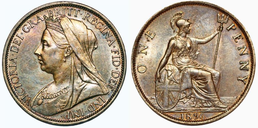 World Coins - Great Britain. Queen Victoria (1837-1901) Bronze Penny 1896. UNC