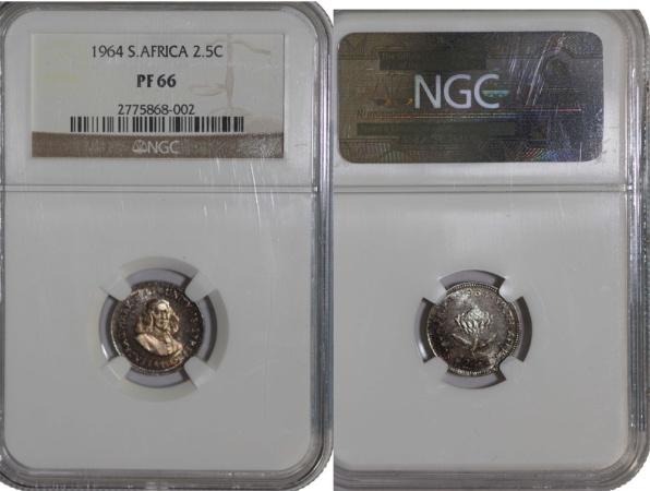 World Coins - South Africa. AR 2 1/2 Cents 1964. PF 66